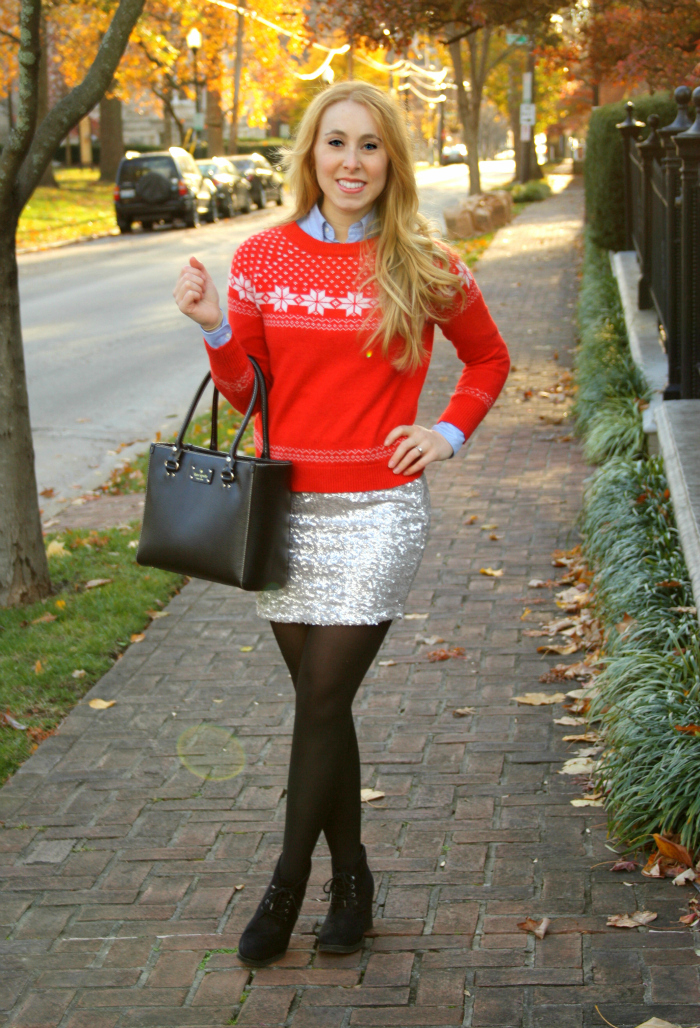 Sequin Skirt Red Sweater