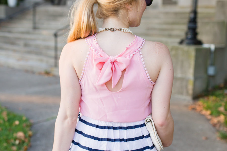 pink blouse striped nautical skirt