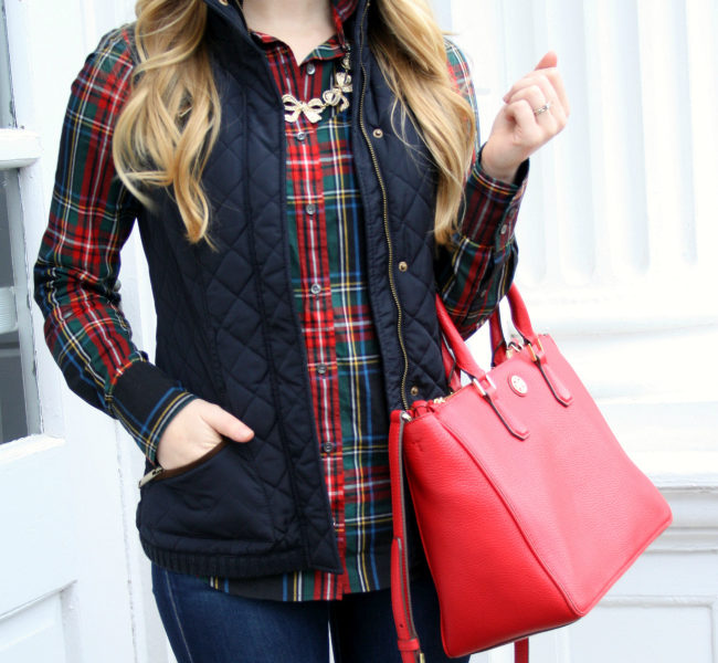 holiday style stewart plaid vest