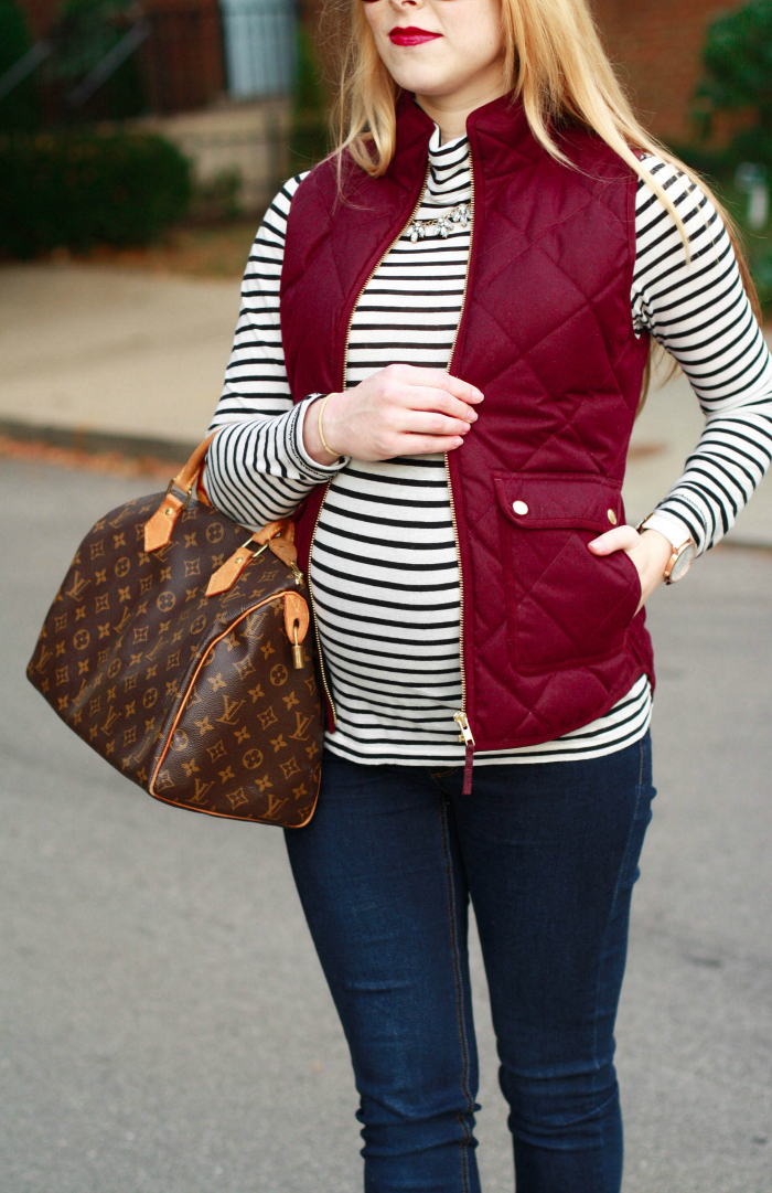 burgundy j.crew vest striped turtleneck