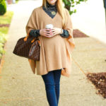 Classy Neutrals in Camel Poncho & Leopard Flats