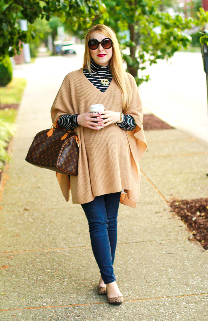 camel poncho neutrals striped turtleneck maternity