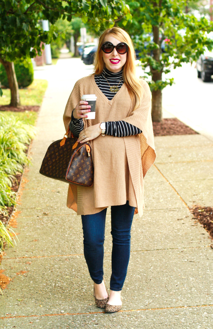 camel poncho neutrals striped turtleneck