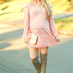 Pink Lace Dress & Grey OTK Boots