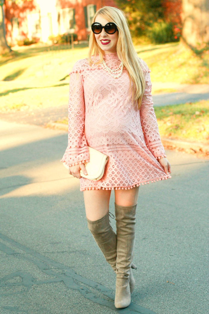 pink lace dress over the knee boots