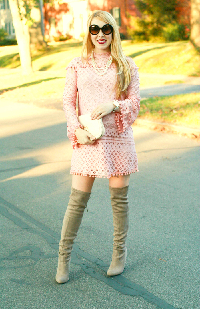 8433ce1855b pink lace dress over the knee boots. by Whitley