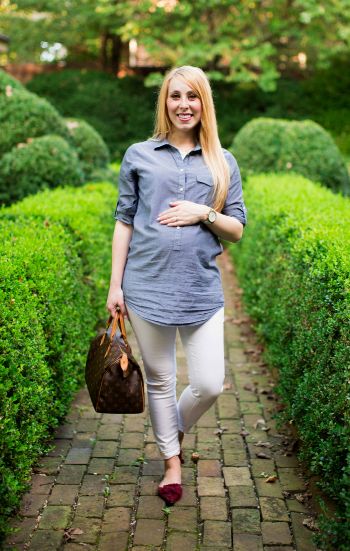 maternity white denim chambray tunic
