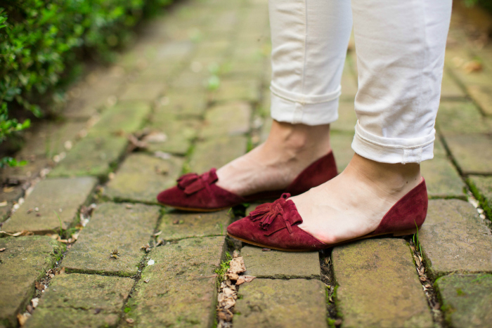 white denim burgundy d'orsay flats