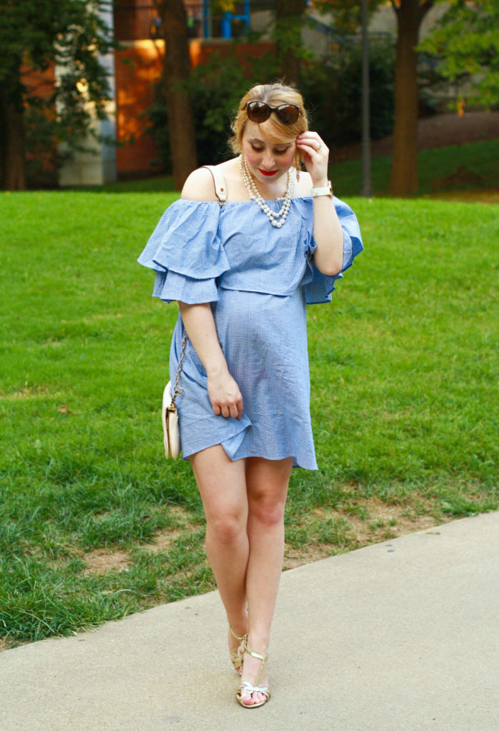 gingham ruffle off the shoulder dress shein labor day