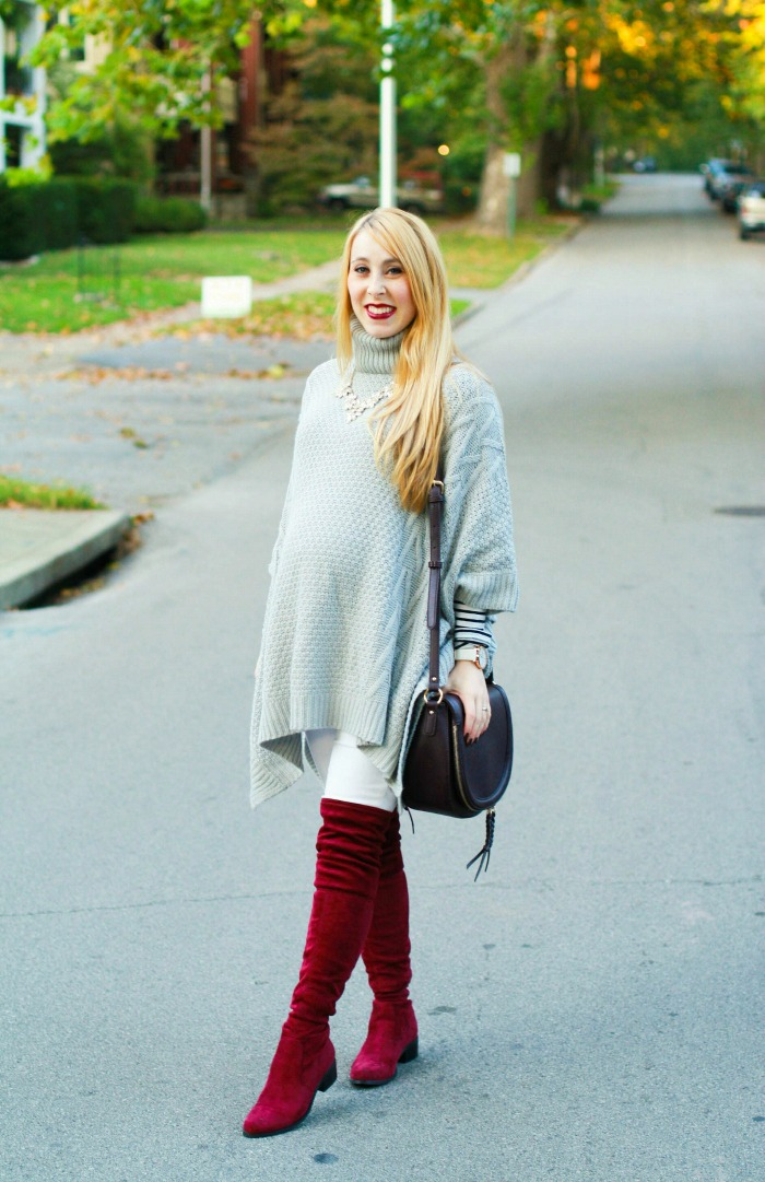grey poncho burgundy otk boots over the knee white denim