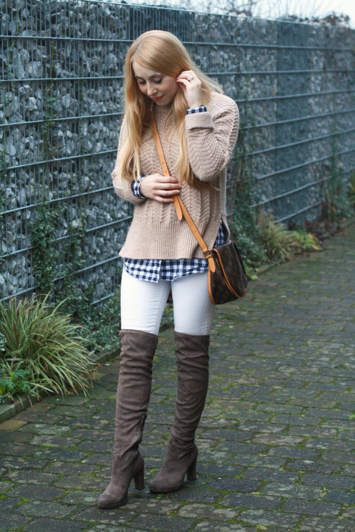 beige thick sweater gingham white denim over the knee boots oak winter