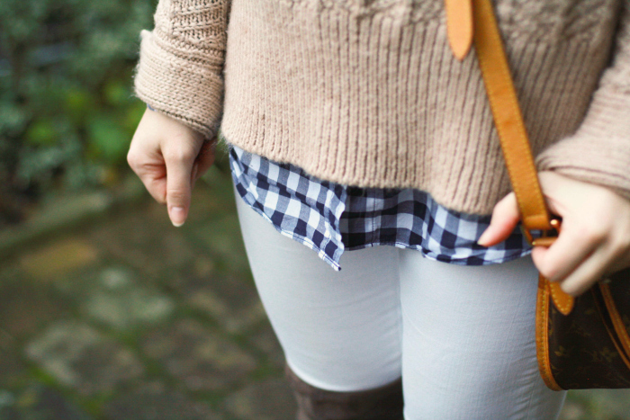 beige thick sweater gingham white denim over the knee boots otk