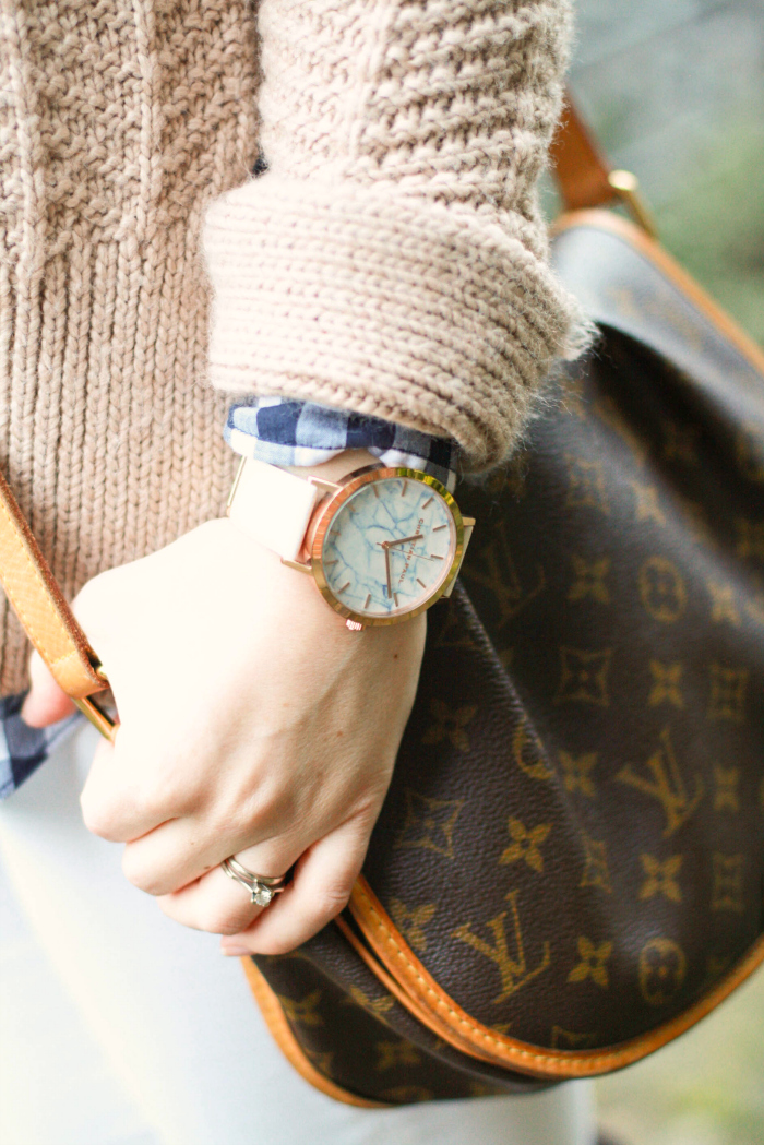 beige thick sweater gingham white denim christian paul watches