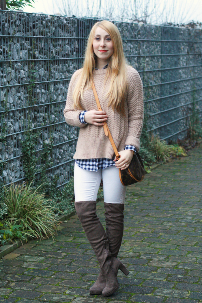 beige thick sweater gingham white denim over the knee boots otk winter