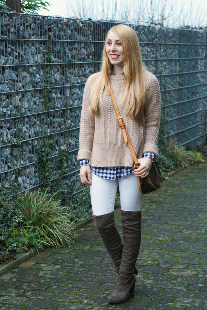 beige thick sweater gingham white denim over the knee boots winter