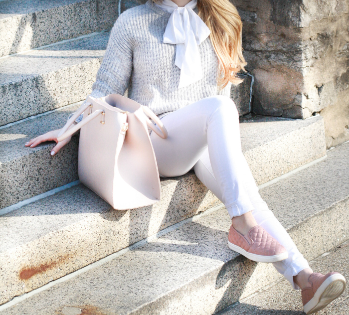 Grey sweater blush sneakers winter spring