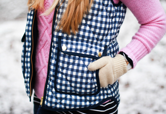Pink Cable Knit Gingham Vest winter style