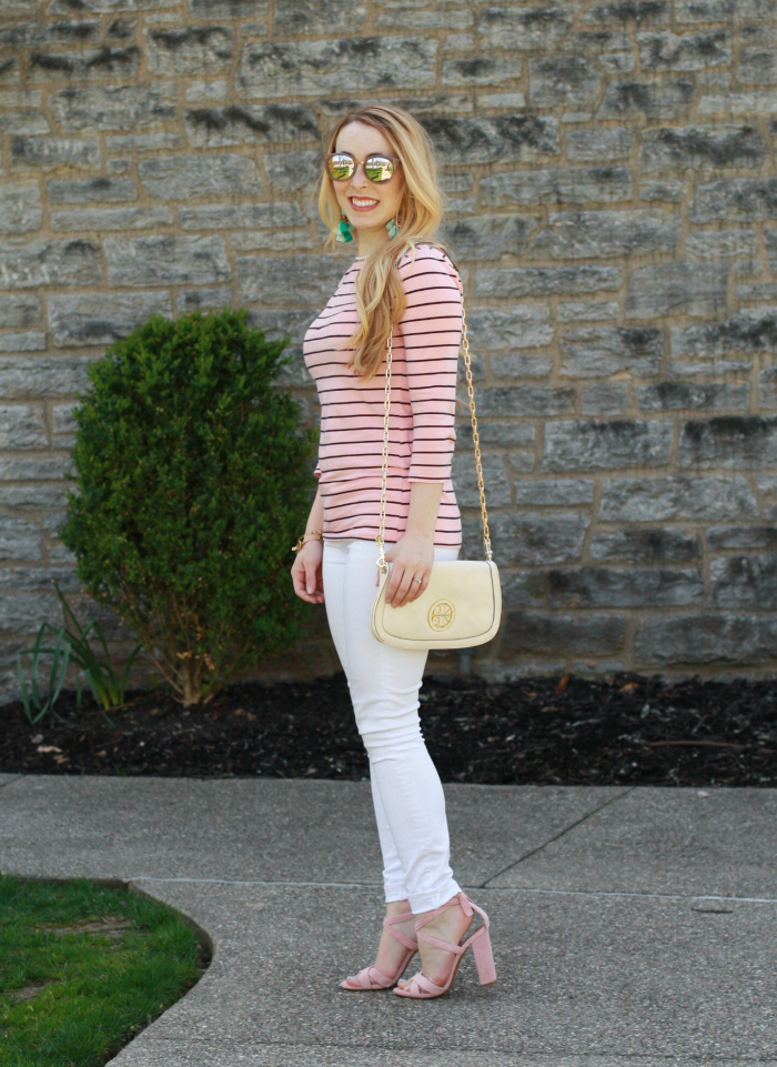 striped blush shirt steve madden heels mint tassel