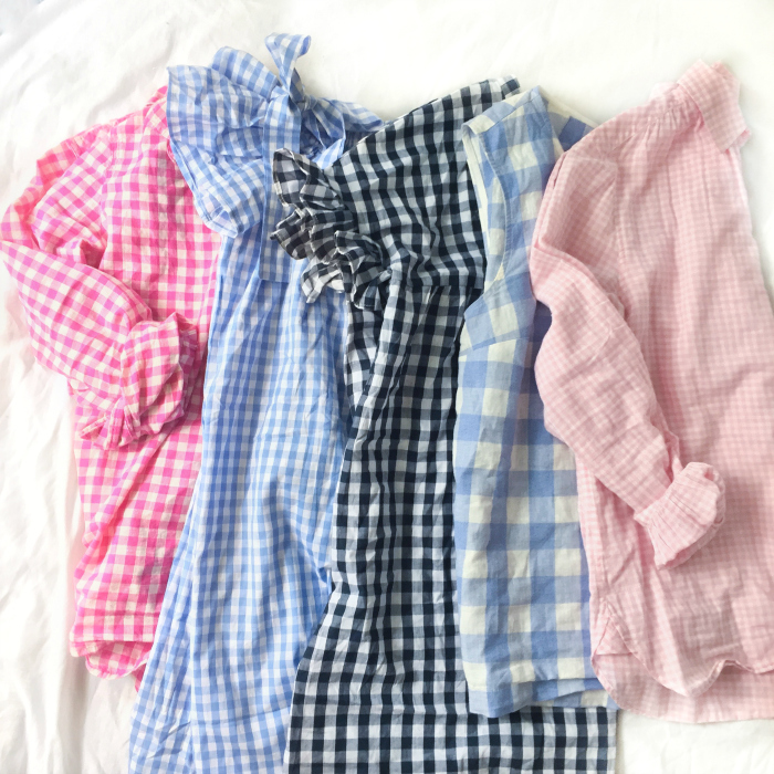 gingham pink light blue off the shoulder
