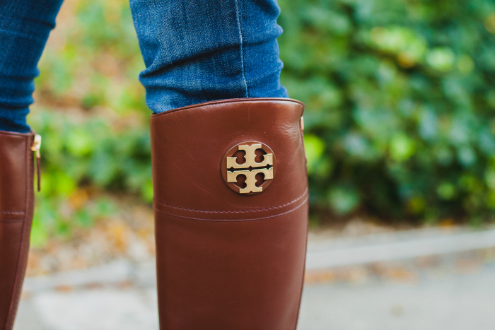 pink gingham tory burch riding boots