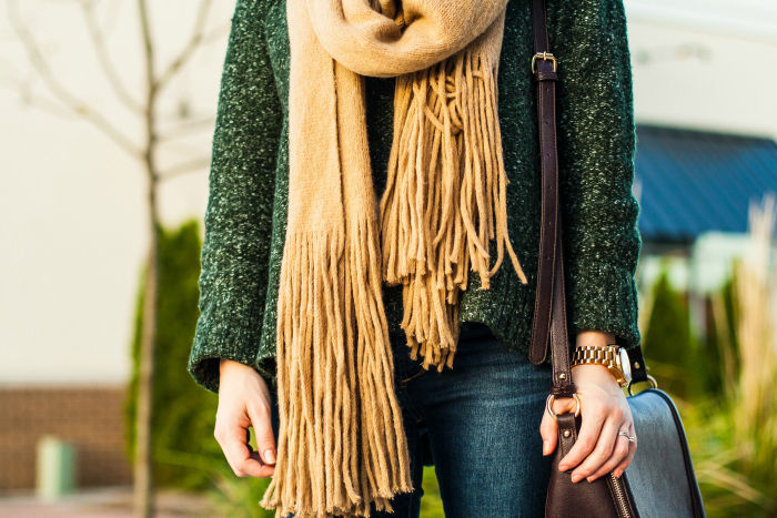 green sweater tan fringe scarf fall style
