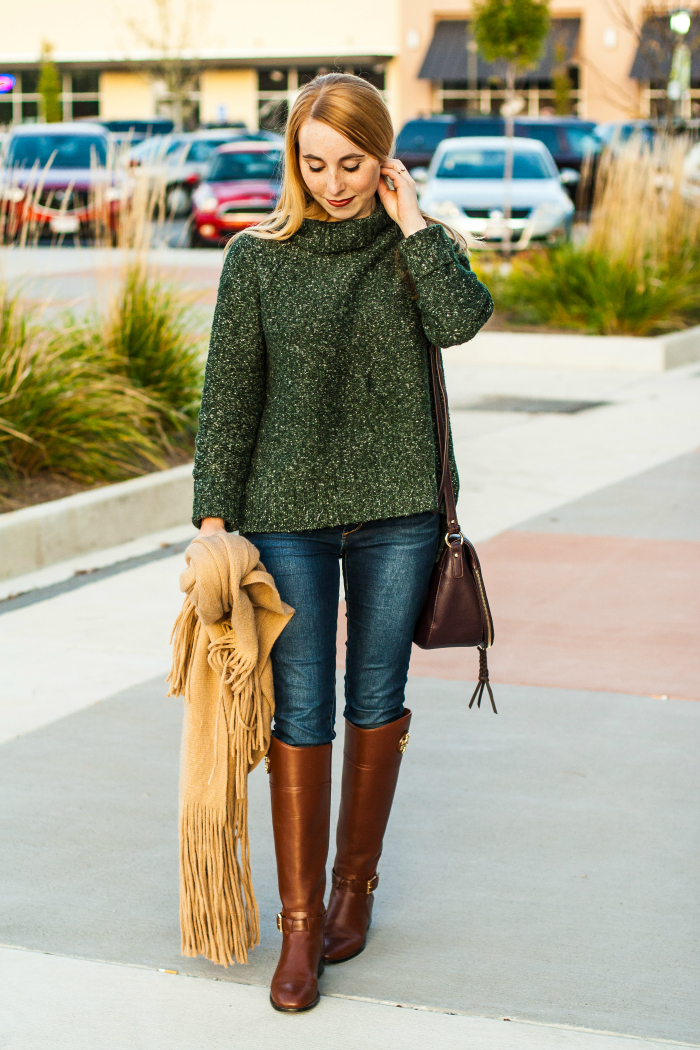 green sweater camel scarf fall tory burch