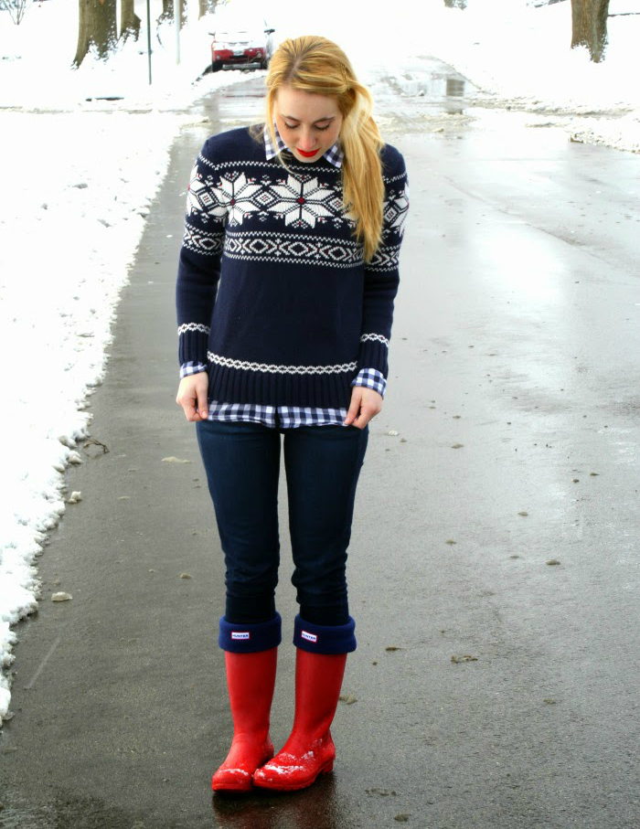 fair isle holiday preppy attire red hunter boots
