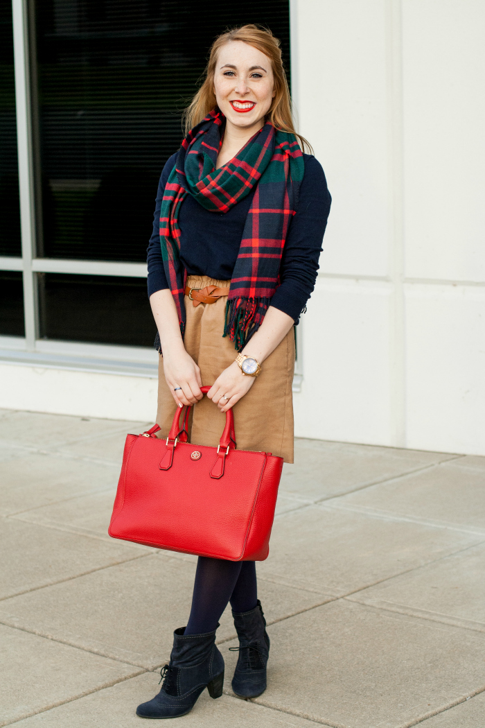 navy tights holiday plaid scarf