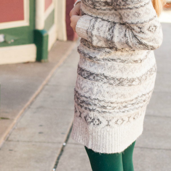 Fair Isle Sweater Dress & Green Tights + $1000 Nordstrom Giveaway