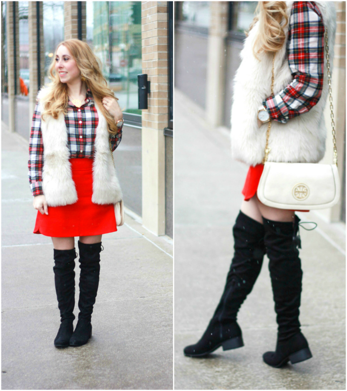 red skirt fur vest plaid holiday style