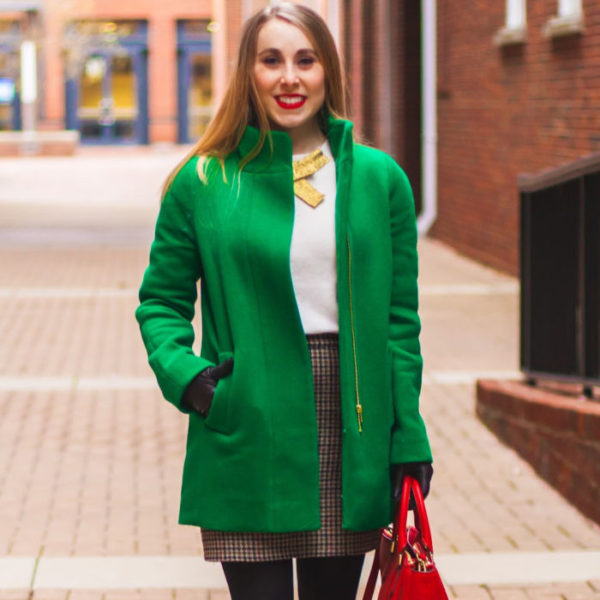 925384b6a3c Reflections on 2018 · kelly green j.crew factory coat preppy herringbone  skirt red tory burch robinson