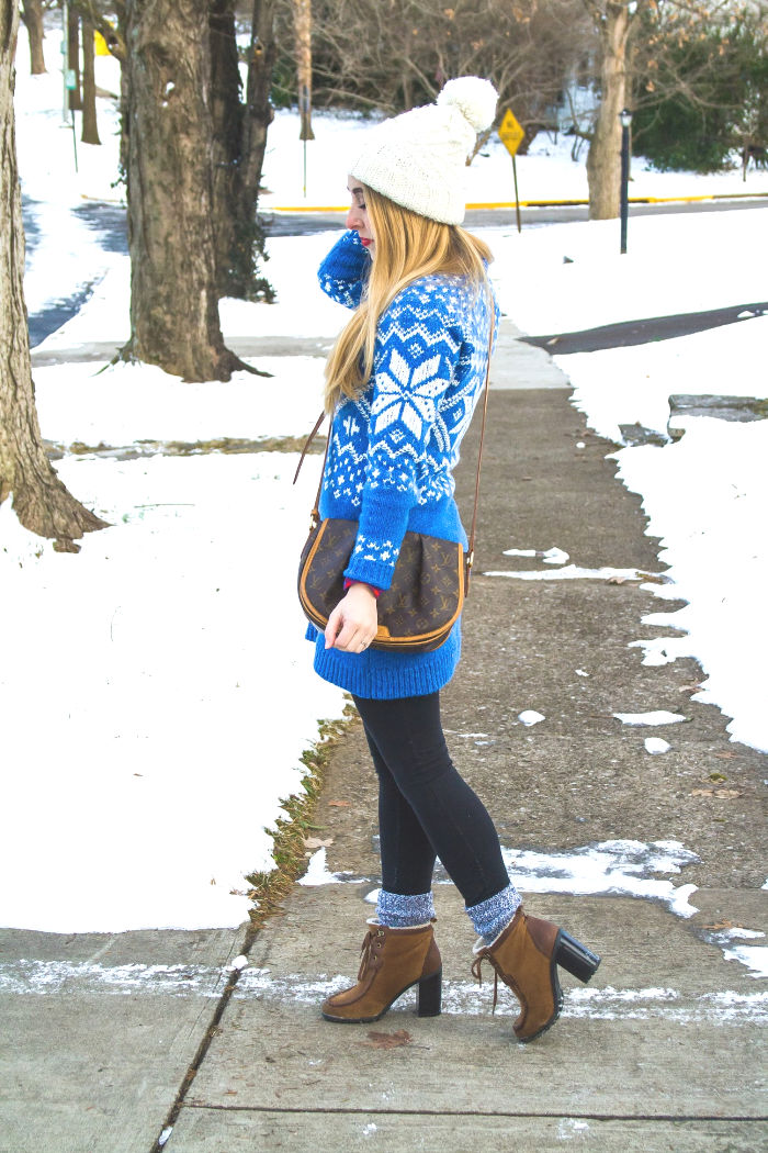 190354a3f29 blue snowflake fair isle nordic sweater dress abercrombie   fitch preppy  winter snow outfit