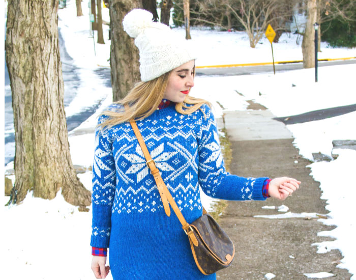 562273999c8 ... blue snowflake fair isle nordic sweater dress abercrombie   fitch  preppy winter snow outfit ...