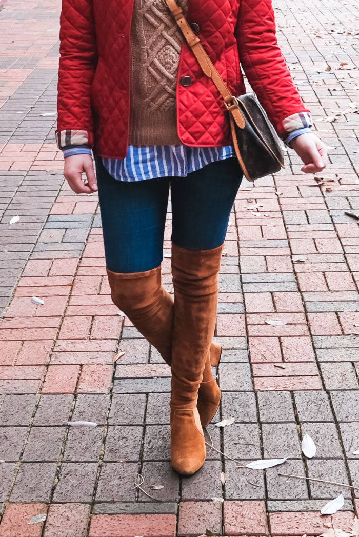 98cdb2e48c5 red quilted burberry jacket over the knee boots cable knit preppy